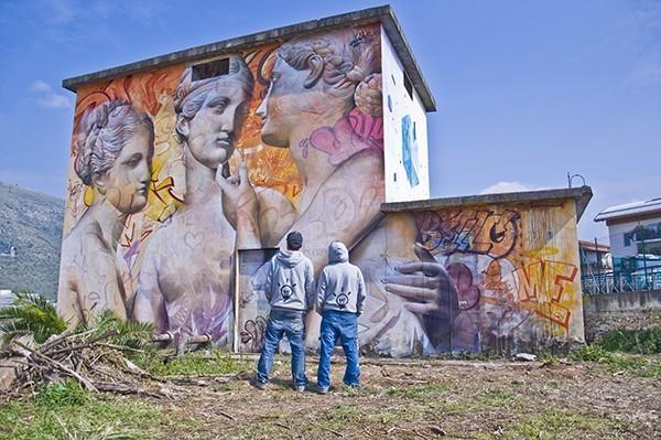 3 muses fresque murale