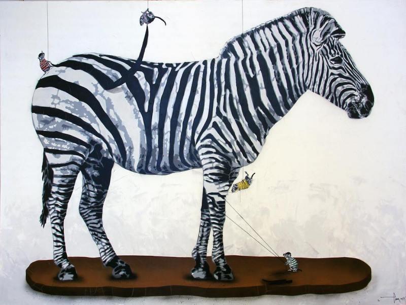 hama woods street art zebre