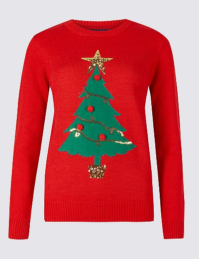 Pull à motif Sapin de Noël, M&S Collection