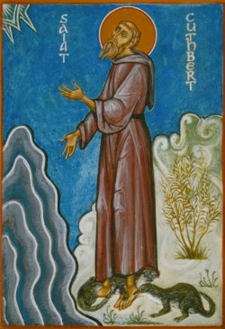 Icon of St Cuthbert praying