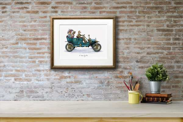 Print of a smartly dressed country fox driving two chickens in a vintage car in a gold frame on a brick wall above a shelf
