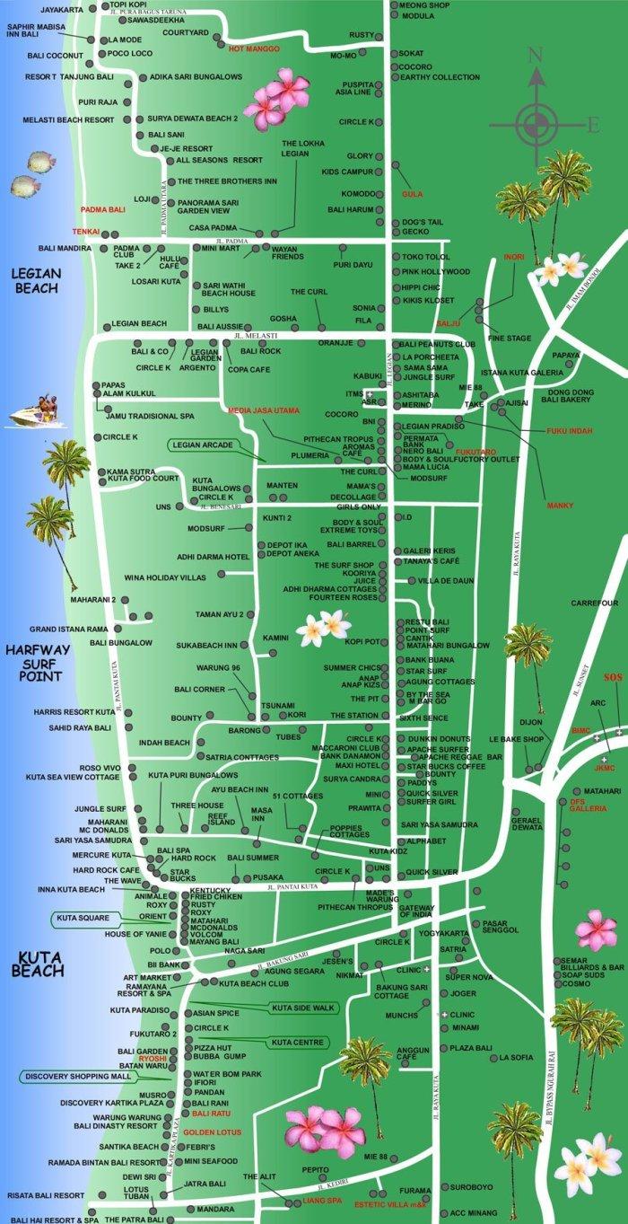 バリ島情報,現地情報,マップ,クタ地区,レギャン地区
