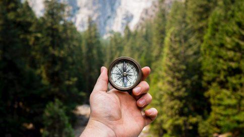 Hand hält einen Kompass, im Hintergrund Wald, Himmel, Wolken