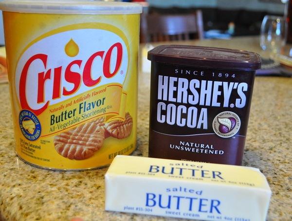 Butter crisco cocoa for texas sheet cake