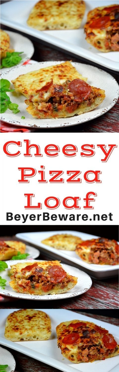 A big loaf of Italian bread is the perfect crust for cheesy pizza loaf. Combine all of your favorite pizza toppings with sauce and put into a hollowed out half and top with lots of cheese for a quick deep dish pizza. #Pizza #PizzaLoaf #Cheese