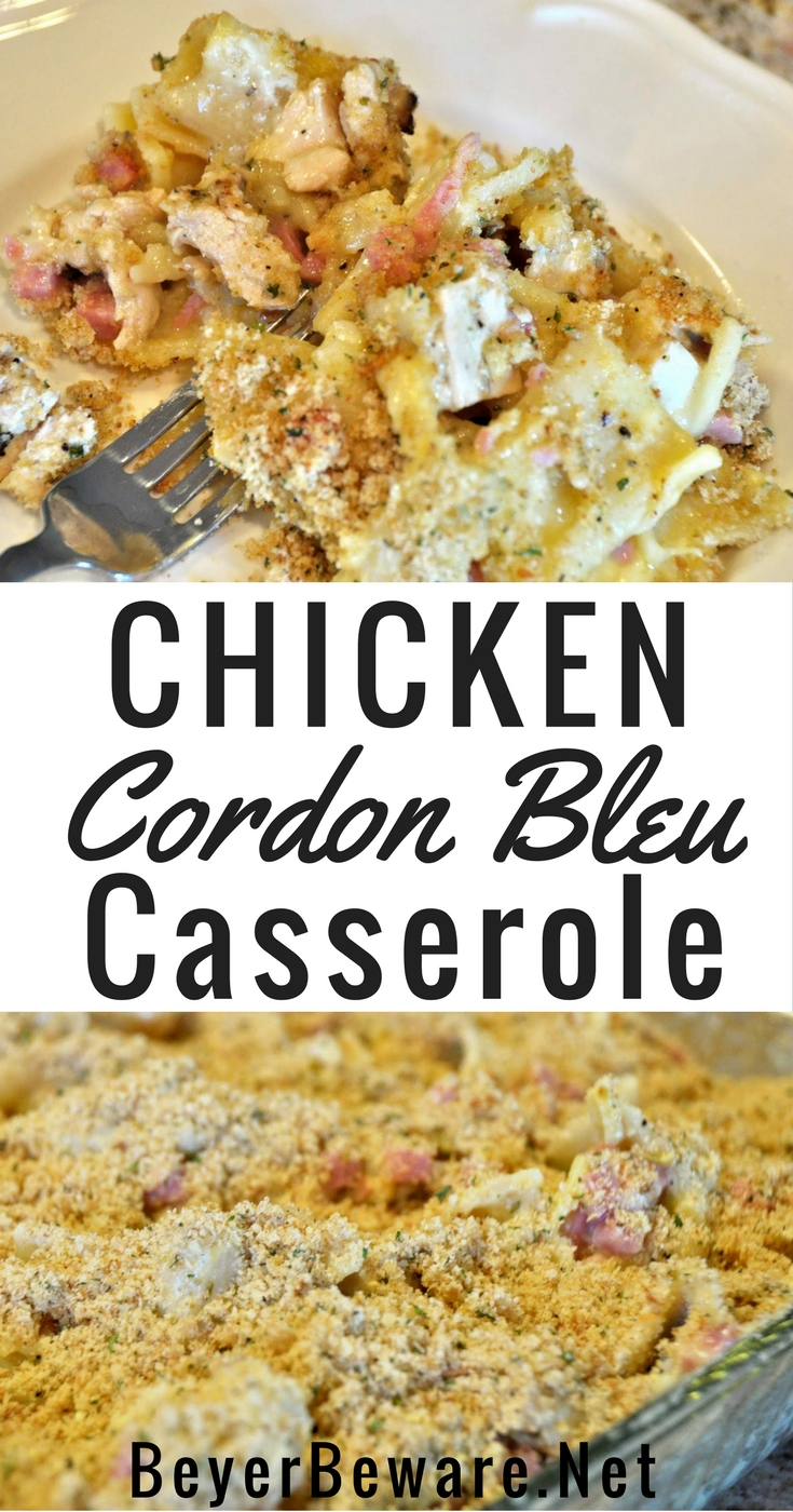 Chicken cordon bleu casserole recipe is a creamy, chicken casserole that is a great way to use leftover chicken and will be an easy dinner recipe.