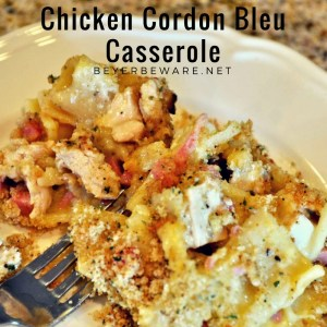 This creamy, chicken cordon bleu casserole recipe is a great way to use leftover chicken and will be a favorite dinner.
