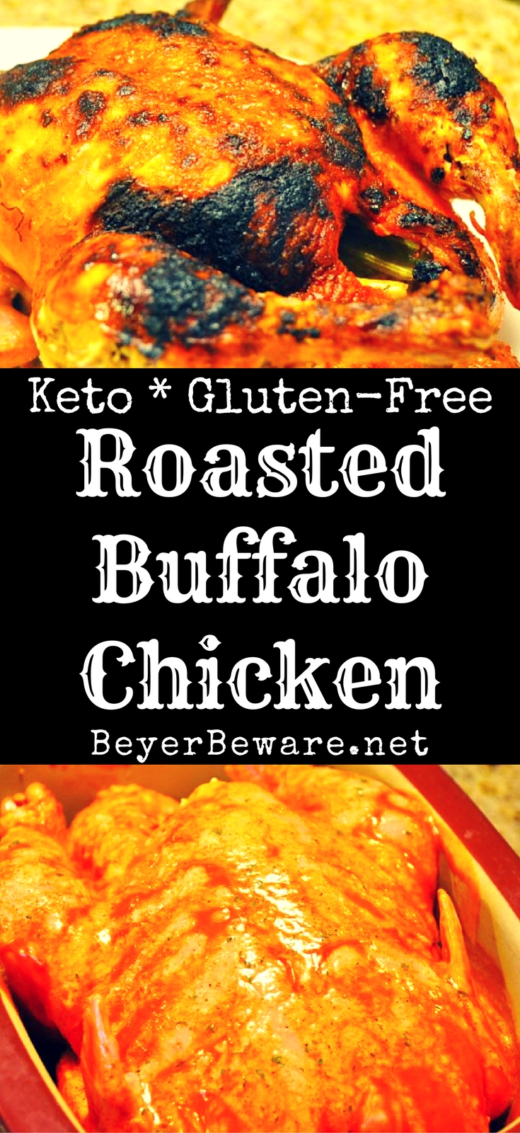 A deliciously spicy whole roasted buffalo chicken that tastes just like buffalo chicken wings thanks to being cooked in butter and buffalo wing sauce.