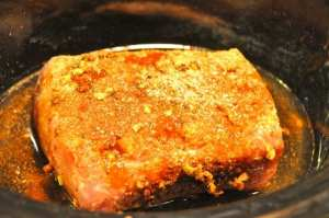 pork loin with garlic rub in the crock pot