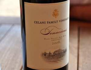 A bottle of Celani Family Winery Tenacious