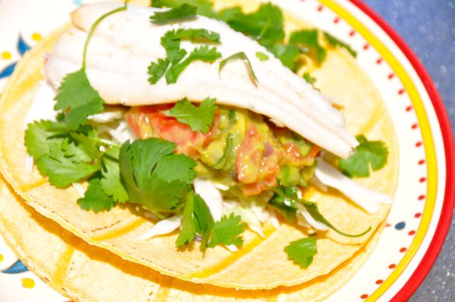Grilled fish tacos with guacamole beyer beware for Flounder fish tacos