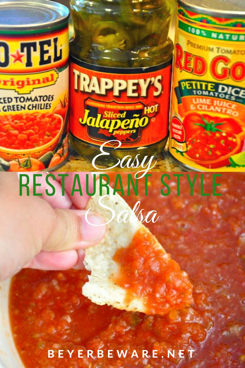 This quick and easy restaurant style salsa is a quick and easy salsa recipe you can make any time of the year for the best salsa right at home.