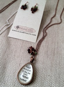 Keep Calm and Drink Wine Necklace