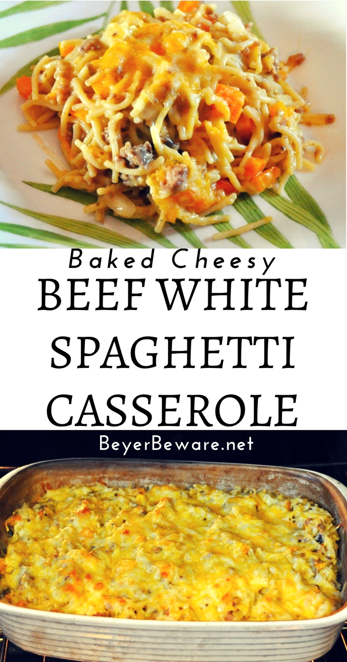 Baked cheesy beef white spaghetti casserole recipe transforms the Pioneer Woman's favorite chicken spaghetti into an easy weeknight meal with ground beef.