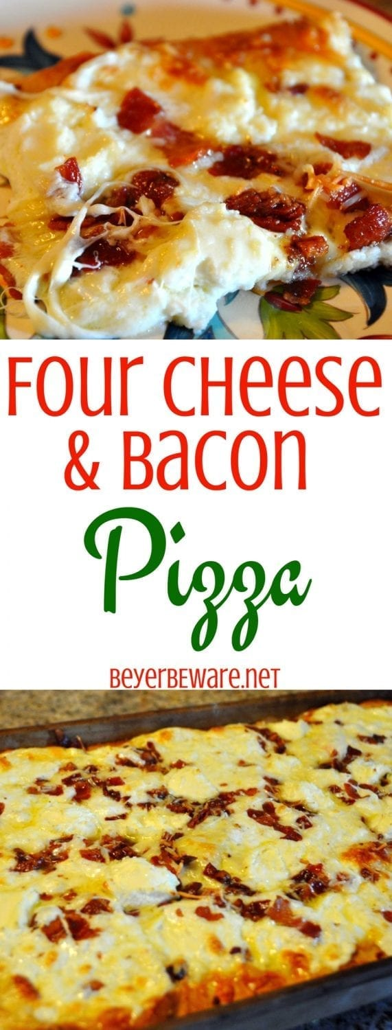 Are you a lover of Quattro Formaggio Pizza? We are obsessed with this super cheesy and bacon pizza. Check out this four cheese and bacon pizza.