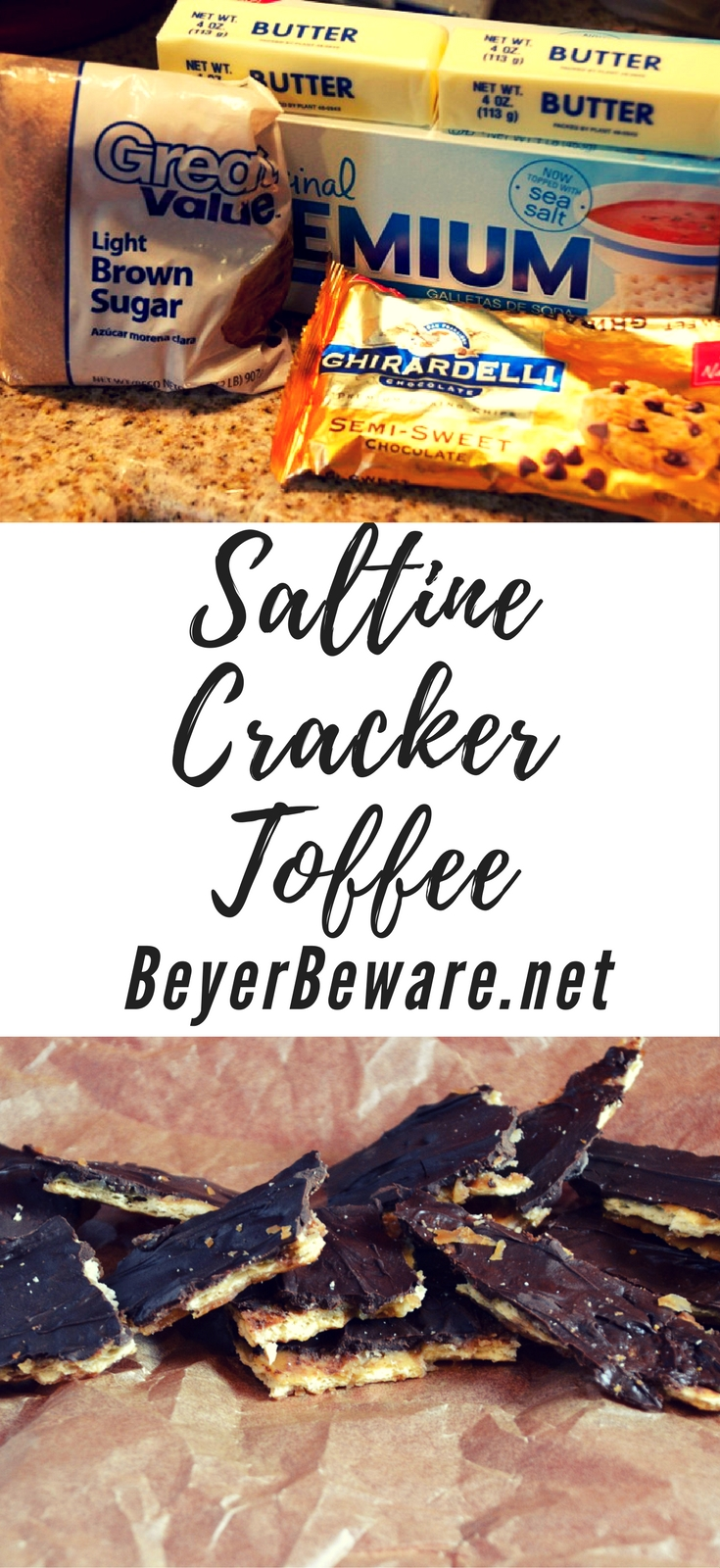 The easiest candy recipe is this saltine cracker toffee and uses only 4 ingredients to create the best combination of salty and sweet to make this addicting treat