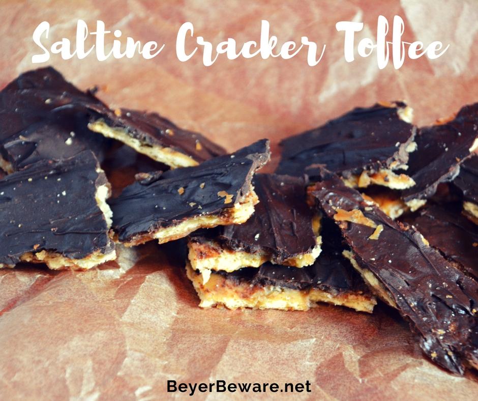 The easiest candy recipe is this saltine cracker toffee and uses only 4 ingredients to create the best combination of salty and sweet to make this addicting treat.