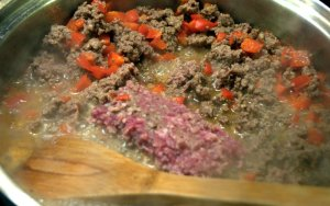 Diced Peppers in Browning Beef