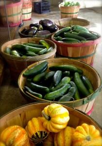 bushel baskets of vegetables