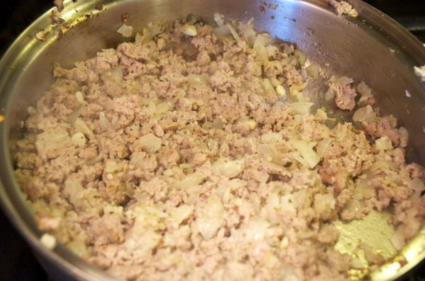 browning ground pork and onions