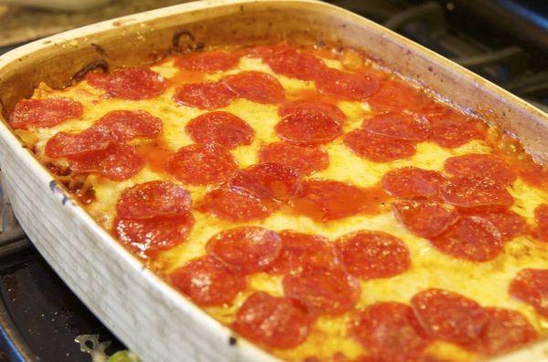 Pepperoni & Sausage Pizza Casserole