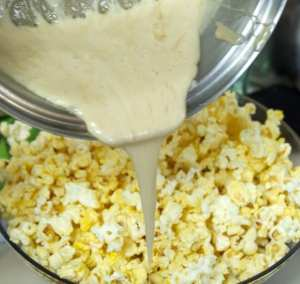 ooey gooey sweetness poured over popcorn