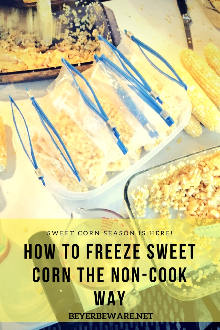 How to freeze sweet corn without having to cook the corn before freezing.