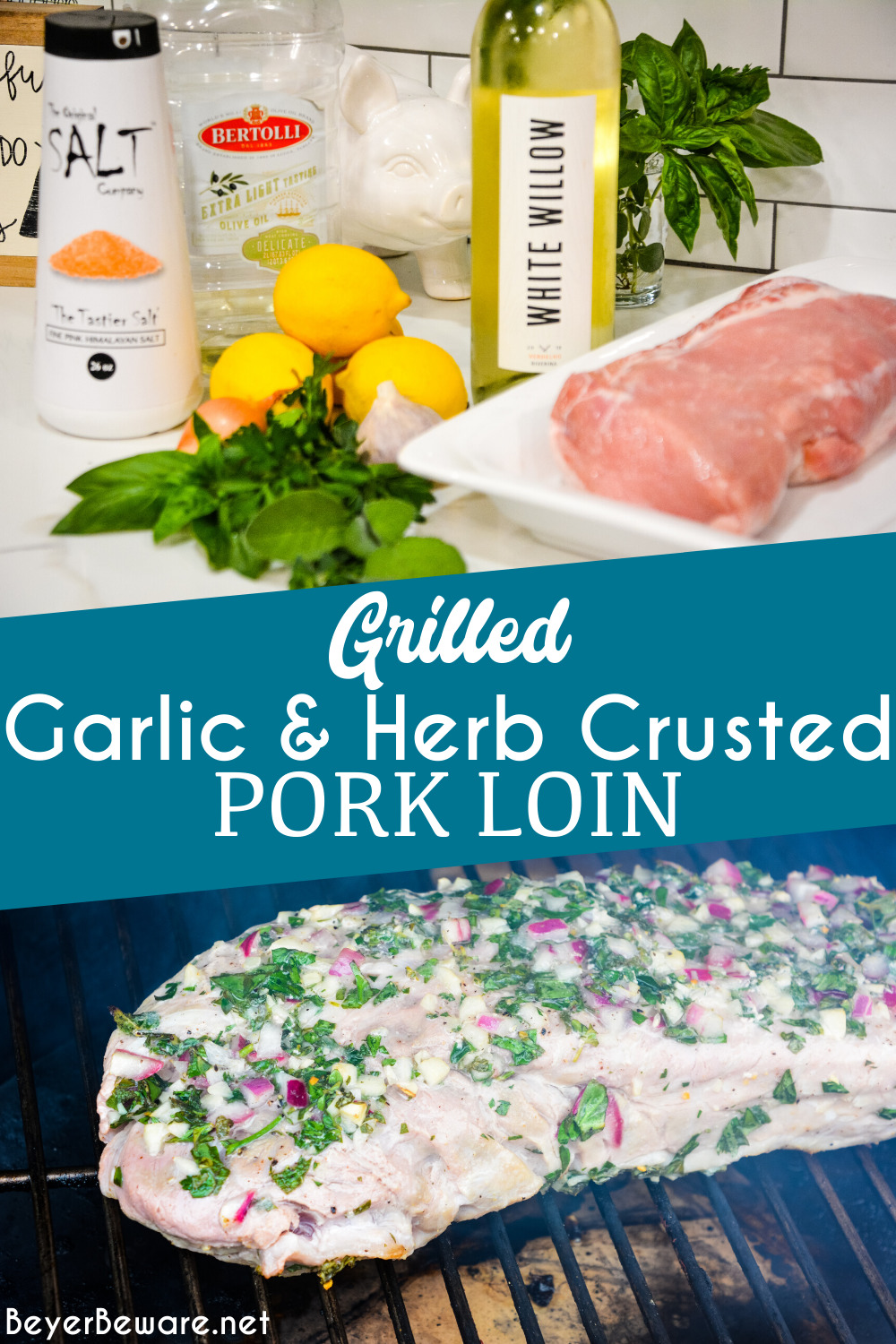 Garlic and Herb Crusted Grilled Pork Loin uses fresh herbs, garlic, and onions with simple wine, lemon juice, and oil marinade then grilled to juicy pork loin perfection. #grilling #Pork #Recipes