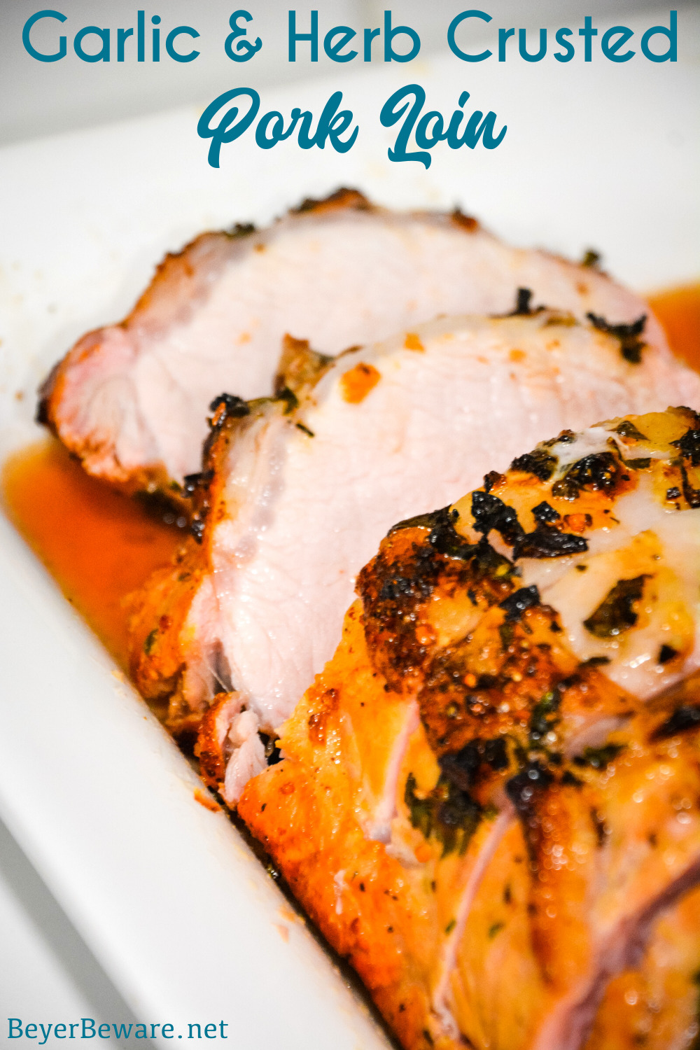 Garlic and Herb Crusted Grilled Pork Loin uses fresh herbs, garlic, and onions with simple wine, lemon juice, and oil marinade then grilled to juicy pork loin perfection.