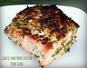garlic and herb crusted grilled pork loin