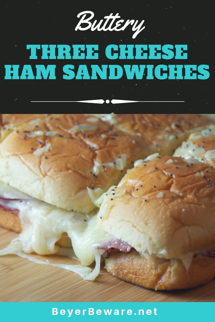 Buttery Three Cheese Ham Sandwiches combine parmesan, provolone, and swiss cheese with a lot of mustard, onions and butter for the perfect ham sandwich. #HawaiianRolls