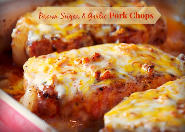 This cheesy garlic and brown sugar pork chops recipe is 6 simple ingredients and amazing flavor for a great weeknight meal.
