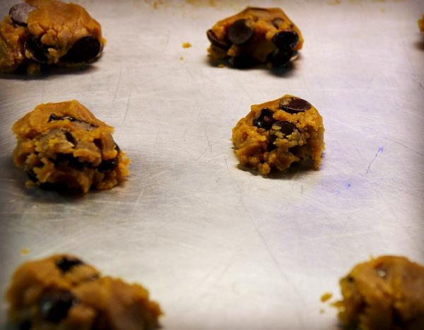 cookie dough on pan