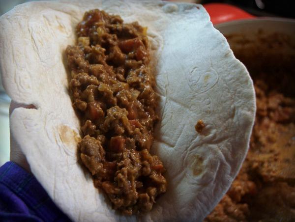 Quick beef burritos