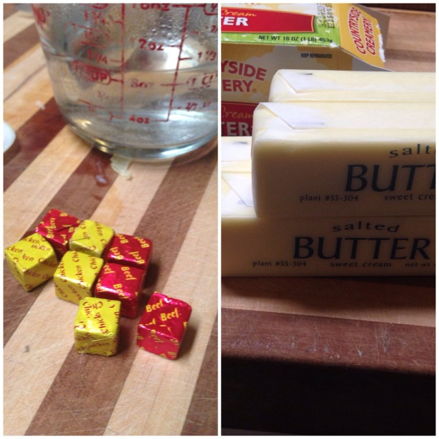 Butter and bouillon cubes for crock pot mushrooms