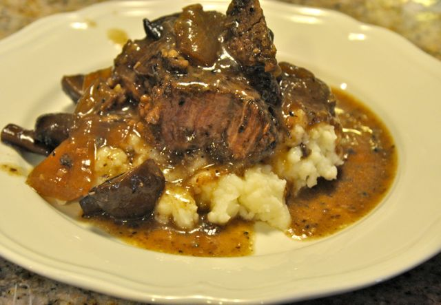 Red Wine Crock Pot Beef Roast with Mushrooms and Onions