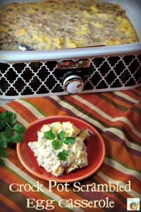 Crock Pot Scrambled Eggs Casserole with Sausage and Green Chilies