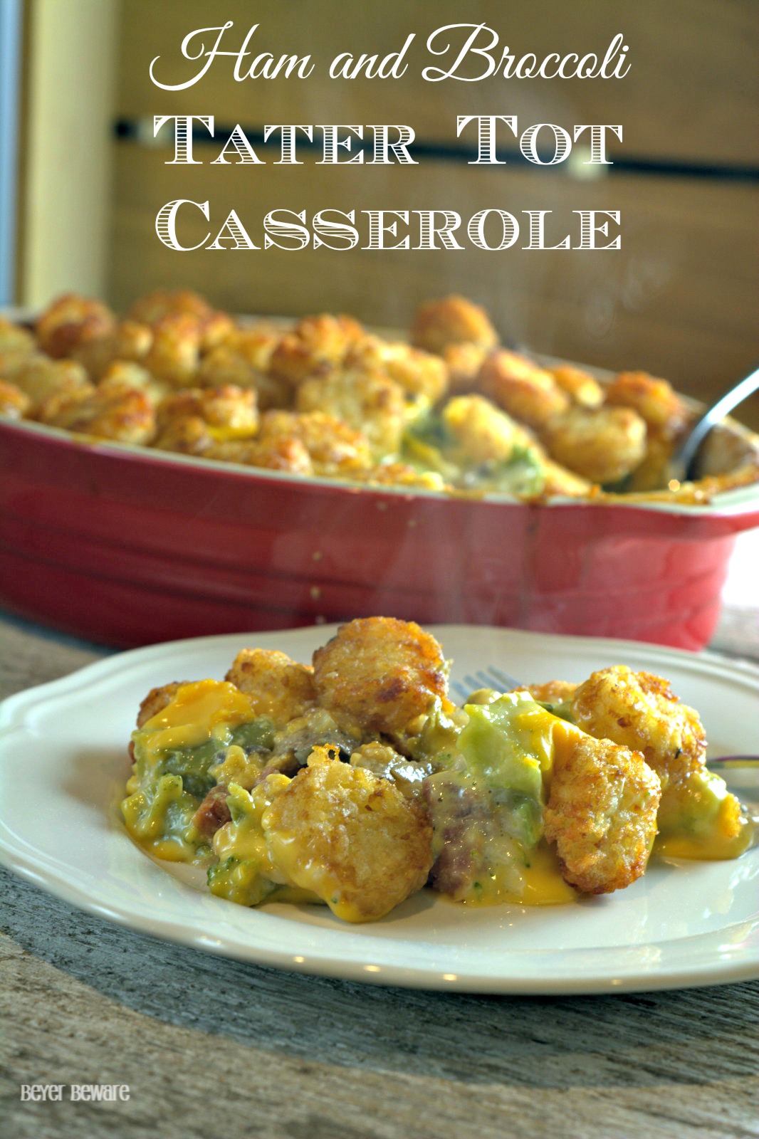 Ham and broccoli tater tot casserole is a great ham casserole that uses leftover ham and a great twist on a favorite casserole.