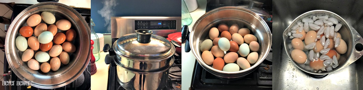 How do you make easy to peel hard boiled eggs? By steaming them.
