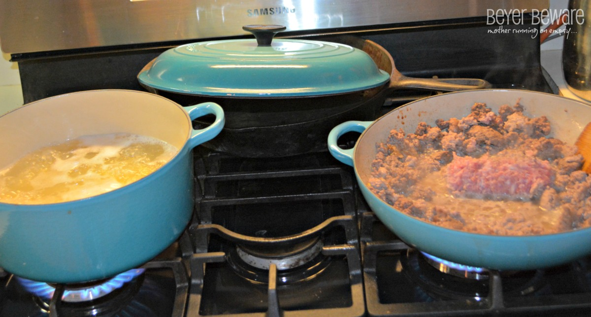 penne pasta and hamburger cooking for pasta skillet