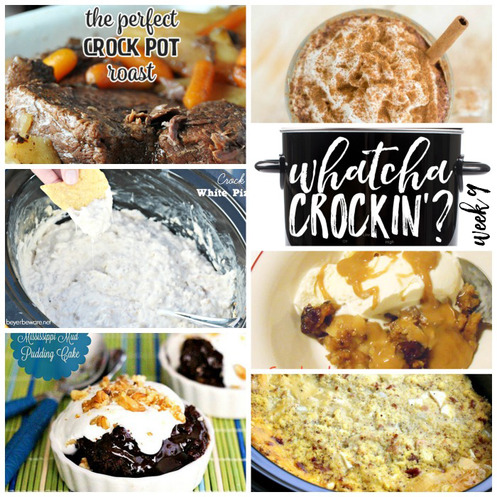 This week's Whatcha Crockin' crock pot recipes include Crock Pot Chicken and Dressing, Slow Cooked Mississippi Mud Pudding, The Perfect Crock Pot Roast, Crock Pot Apple Crisp, Crock Pot White Pizza Dip and more!
