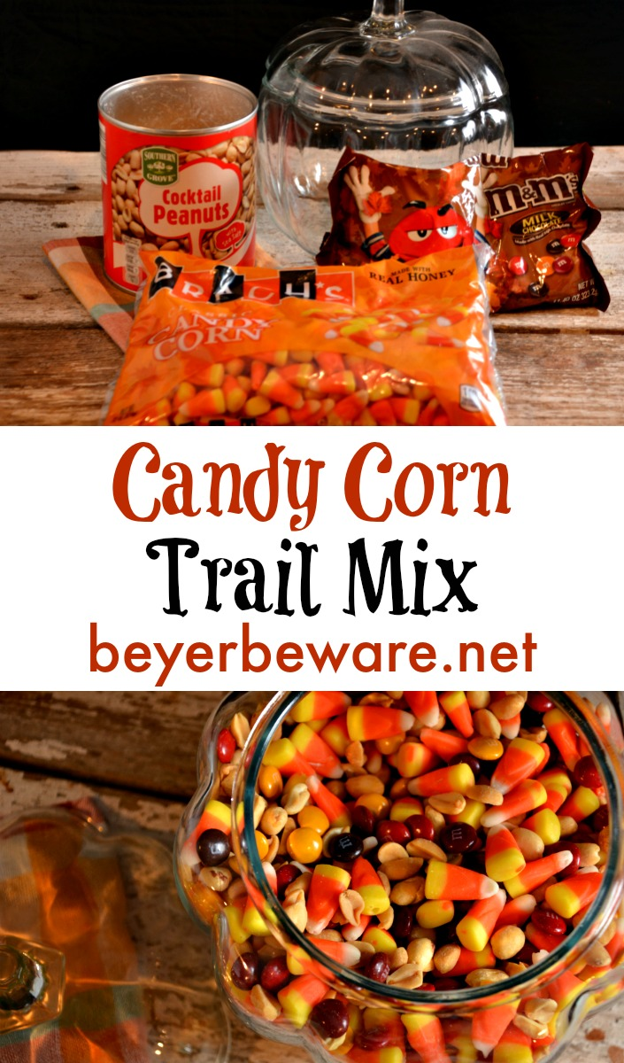 Candy corn trail mix has a combination of flavors that is just like a chocolate payday bar. One of our favorite treats of fall.