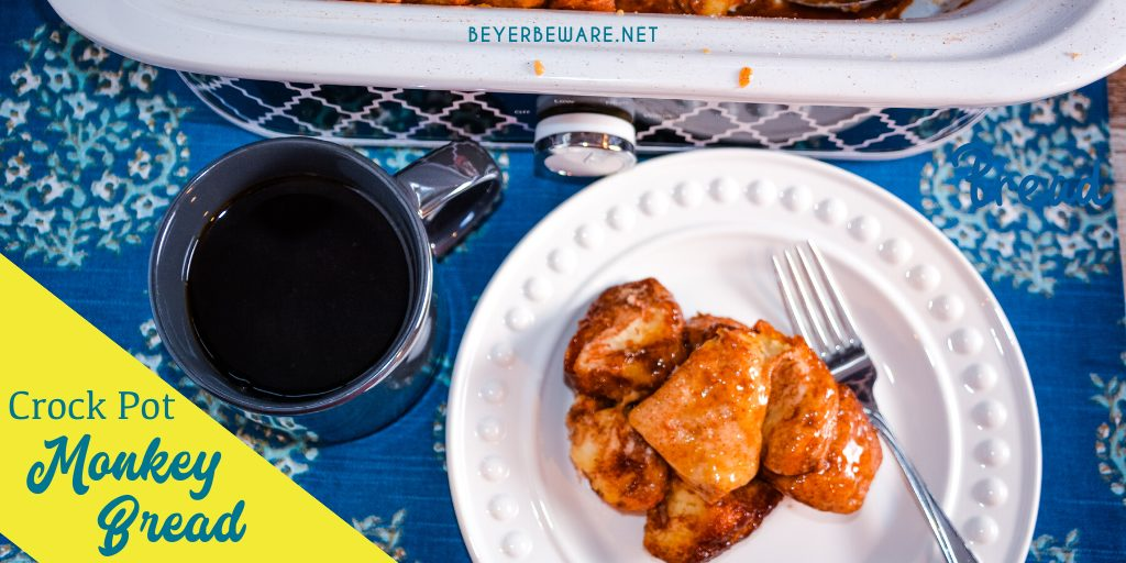 Tips for Making Crock Pot Monkey Bread The center is the last thing to cook, so put a small bowl with water in the middle to give another hot edge for the biscuits to touch. White sugar can be substituted, brown sugar gives a richer flavor. If you want a less sticky top for a more crusty top, place a thin kitchen towel pulled tight under the crock pot lid.