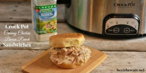 A simple crock pot creamy chicken bacon ranch recipe that is the perfect shredded chicken sandwich.