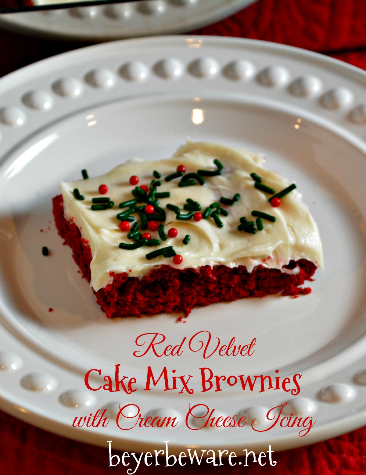 Red Velvet Cake Mix Brownies With Cream Cheese Icing