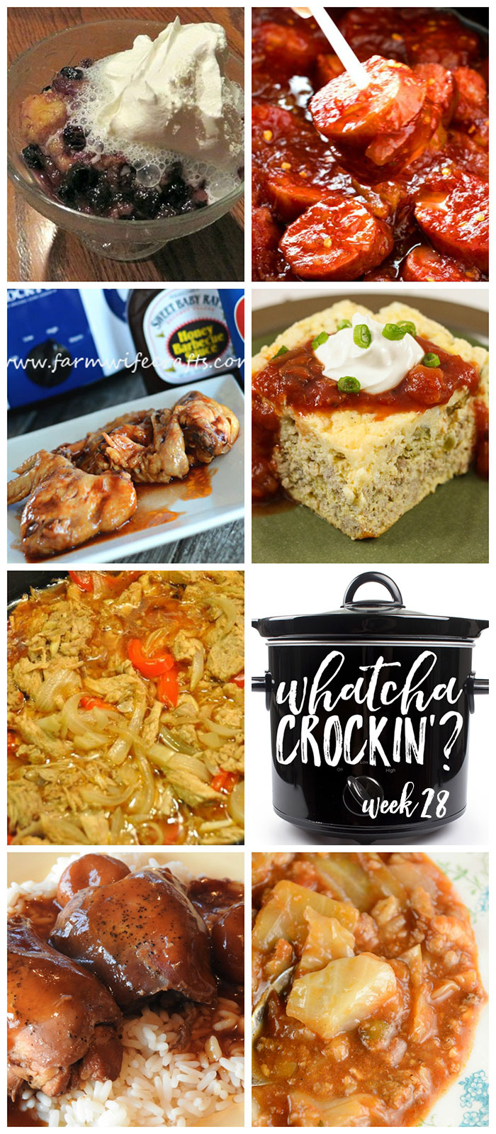 This week's Whatcha Crockin' crock pot recipes include Crockpot Sweet and Spicy Kielbasa Bites, Crock Pot Teriyaki Chicken Thighs, Crock Pot Unstuffed Cabbage Soup, Slow Cooker Santa Fe Omelet, Crock Pot Blueberry Dump Cake, Slow Cooker Honey BBQ Wings, Beer Braised Crock Pot Pork Carnitas and much more!