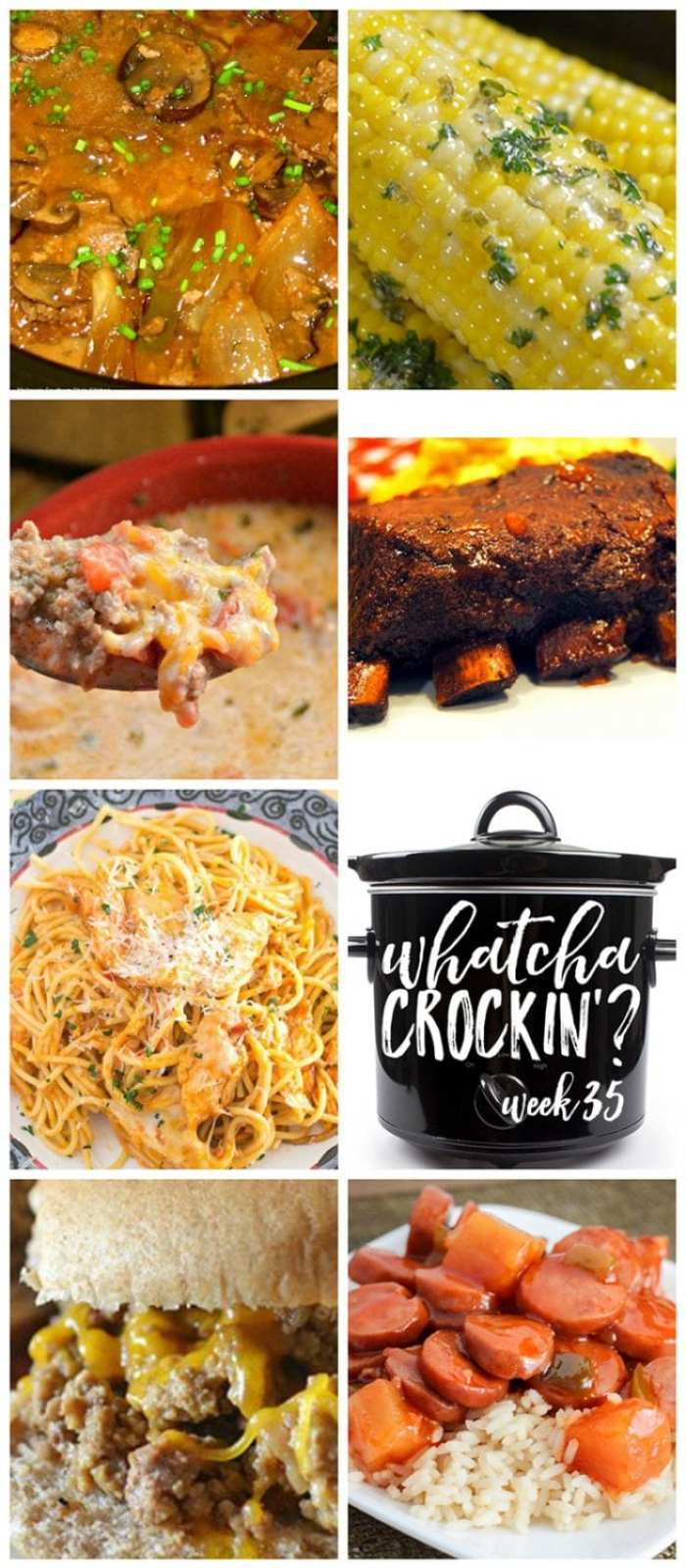 This week's Whatcha Crockin' crock pot recipes include Slow Cooker Baby Back Ribs, Crock Pot Cheesy Chicken Spaghetti, Crock Pot Corn on the Cob, Crock Pot Sweet and Sour Sausage, Slow Cooked Cube Steak with Peppers, Onions and Mushrooms, Crock Pot Low-Carb Taco Soup, Crock Pot Unsloppy Joes, and much more!