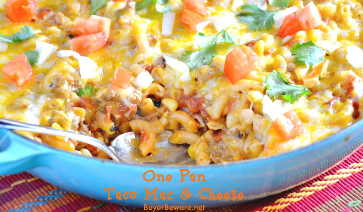 The Mexican flavors in this one pan taco mac and cheese will make your family love this recipe's twist on hamburger helper.