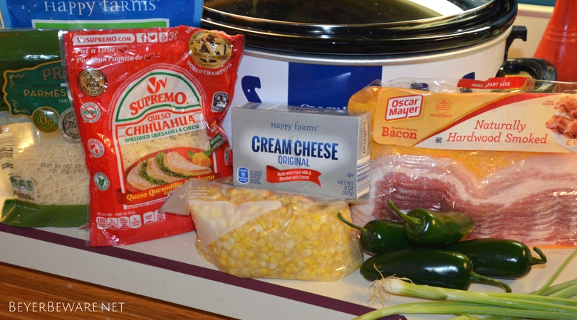This crock pot hot bacon and corn dip recipe is a new family favorite dip as it is ooey-gooey cheesiness with a hint of heat with jalapenos keeps everyone coming back for just one more dip.