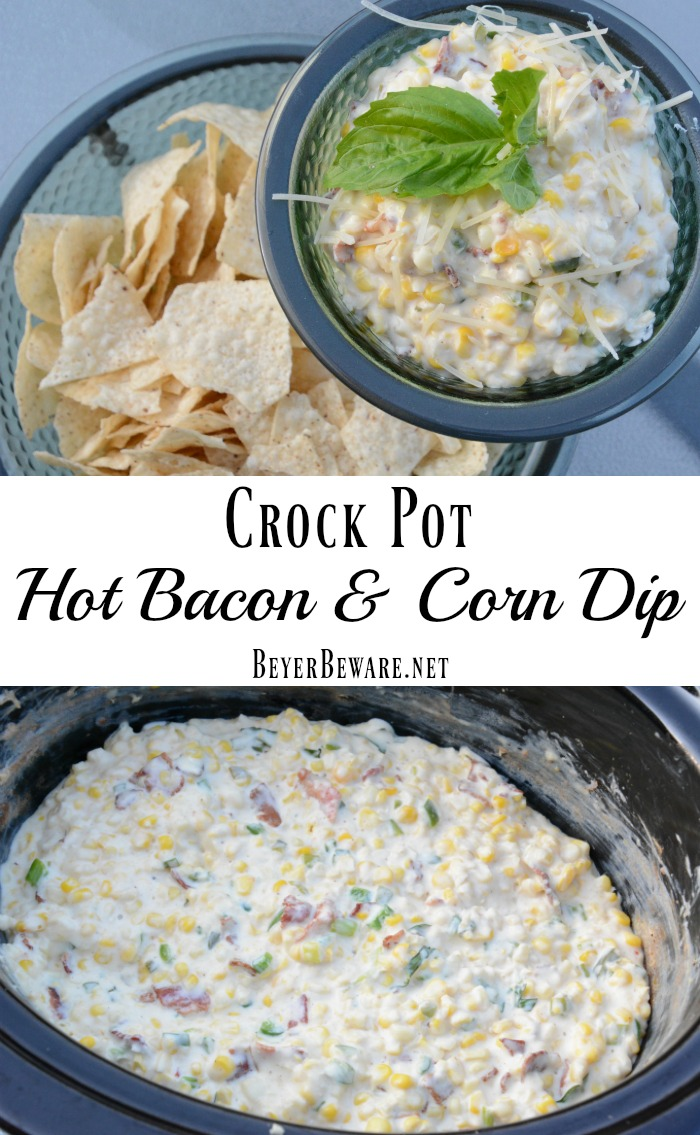 This crock pot hot bacon and corn dip recipe is a new family favorite dip as it has ooey-gooey cheesiness with a hint of heat with jalapenos.